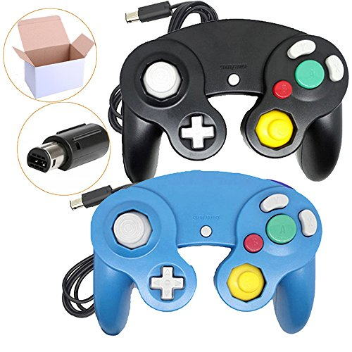 Bowink Black and Blue Ngc Classic Wired Shock Joypad Game Stick Pad Controller for Wii Gamecube NGC Gc Black