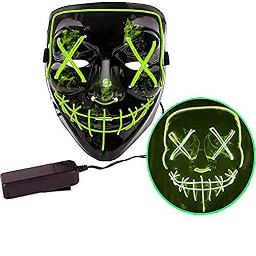 Jonami Mascara LED Halloween, Máscara la Purga LED, Máscara Facial Adulto, 3 Modos de Iluminación, Máscara de Terror para Fiesta de Disfraces Carnaval - Verde