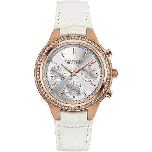 Caravelle New York Damen Chronograph Quarz Uhr mit Leder Armband 44L214
