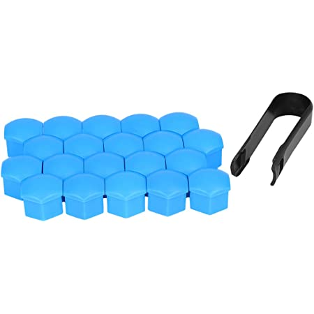 Fuzbaxy 20pcs Blue 19MM Universal Vehicle Car Wheel Lug Bolt Nut Covers Caps Removal Tool for Anti-Rust Hub Screw Protector Car Accessories
