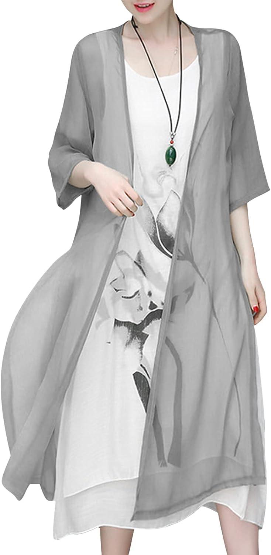 Women's 2 Piece Outfits Linen Floral Print Ruffle Irregular Hem Casual Tank Maxi Dress with Sheer Long Cardigan Sets