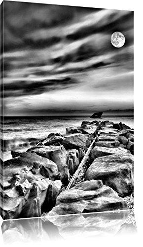 Stone lijn in de zeeFoto Canvas | Maat: 100x70 cm | Wanddecoraties | Kunstdruk | Volledig gemonteerd