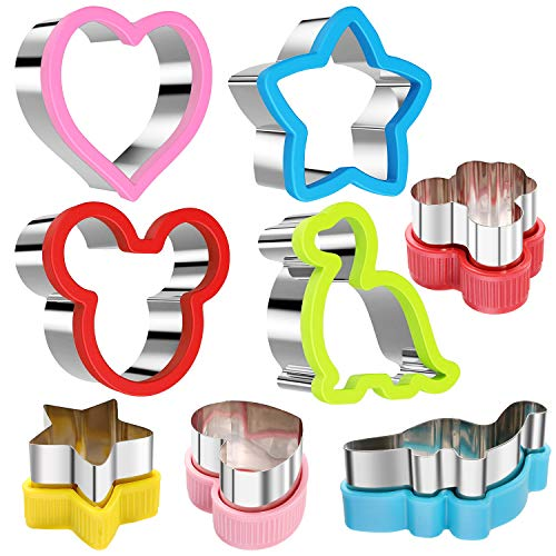 stbeyond Stainless Steel Sandwiches Cutter set, Mickey Mouse & Dinosaur & Heart & Star Shapes Sandwiches Cutter Cookie Cutter -Food Grade Cookie Cutter Mold for Kids (Big+Medium, 8pack)