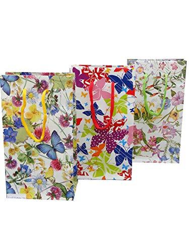 Bagland presentpåsar, blommor 15, papper – 160 g/m2, spara paket – 12 enheter blandade, 18 cm x 23 cm x 10 cm