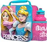Boyz Toys Disney Princess 3D Thermal Lunch Bag for Kids at School with Sports Bottle - Insulated Snack Bag for Children with Drinks Bottle - Reusable Tote Cooler Lunch Box