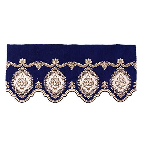vosarea estilo europeo bordado Exquise Pelmet para salón diseño de dormitorio Tejido cortina decorativo para cocina ventana cortina Bandó 148x 65cm (royalblue)