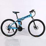 Qinmo 30 Vitesse de vélo de Montagne 24 et 26 Pouces VTT Double vélo Montagne Frein à Disque vélo Pliant Pas Cher étudiant Adulte (Color : 24 inch Blue)