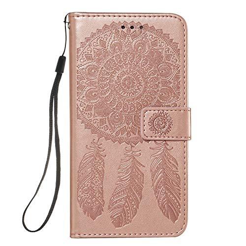Molg Compatible con Funda Samsung Galaxy A51 4G Funda de Cuero PU con Diseño de Atrapasueños en Relieve [Correa de Muñeca] [Portatarjetas] [Cierre Magnético] Funda Antirrayas-Oro Rosa