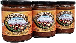 Ol' Gringo New Mexico Gold Salsa -Hot Heat- 3 Pack (16 oz Jars) Authentic Hatch Valley New Mexico Recipe