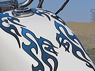 No. 18 - Blueberry with Coal Pinstripe -18pc - Tribal Flame decals for Motorcycle tank, fenders, helmet