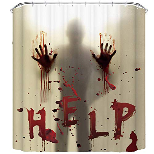 TOOGOO Halloween Dusch Vorhang Liner Fenster Vorh?Nge Grusel Blutig Hands Bade Zimmer Dusch Vorh?Nge für Halloween Dekoration