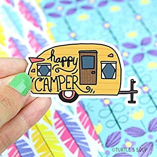 Camper Sticker, Happy Camper, Vinyl Decals, Wanderlust, Trailer, RV, Road Trip, Adventure, Gift for Husband, Boyfriend