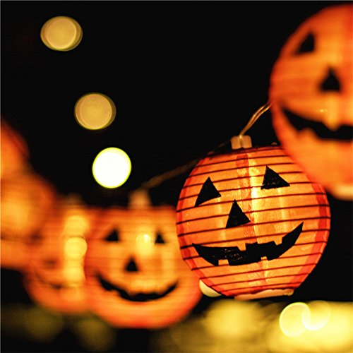 Halloween Lights,Makion Halloween Decorations Fairy Lights 2.5M/8.2FT 10 Led Pumpkin Lanterns Battery Powered String Lights