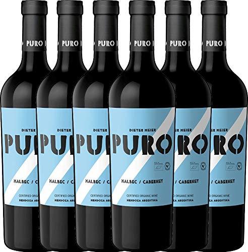 VINELLO 6er Weinpaket Rotwein - Puro Malbec Cabernet 2019 - Dieter Meier mit Weinausgießer | trockener Rotwein | argentinischer Biowein aus Mendoza | 6 x 0,75 Liter