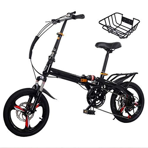 XYSQ Klapprad Gebraucht for Erwachsene Männer Und Frauen, 30lb Leichten Aluminiumrahmen 7-Gang Faltbare Fahrräder 16/20 Inch, Single Speed Mountain Bike (Color : Black, Size : 16in)