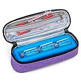 Luxja Bolsa de Insulina con Paquete de Hielo, Organizador Portátil de Insulina, Estuche de Insulina para Caber 3 viales (10ml), Púrpura(Solo Bolsa).