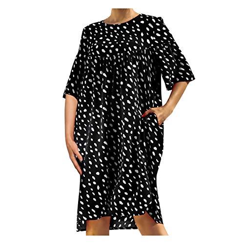 YANFANG Vestido Mujer Estampado,Vestido de Bolsillo Suelto con Cuello Redondo y Manga Corta con Lunares y Retazos para Mujer, Black,M