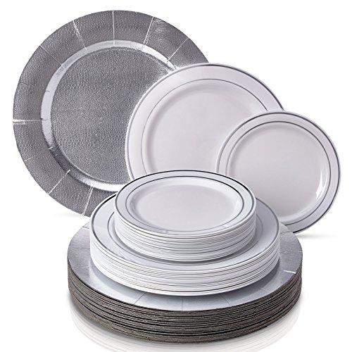 Silver Spoons 1820 VAJILLA DESECHABLE DE 60 Piezas Moderna Y Elegante plástico Resistente bandejas Grandes | 20...