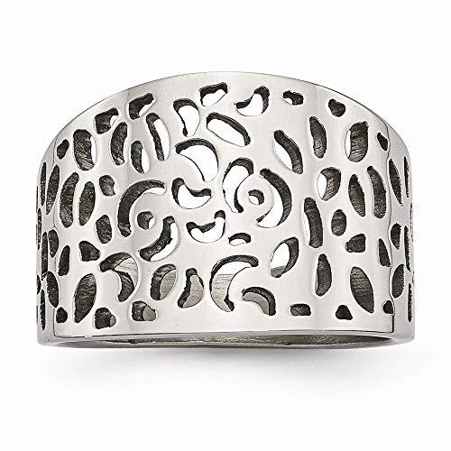 Acero inoxidable pulido corte diseño anillo tamaño P 1/2 joyería regalos para las mujeres