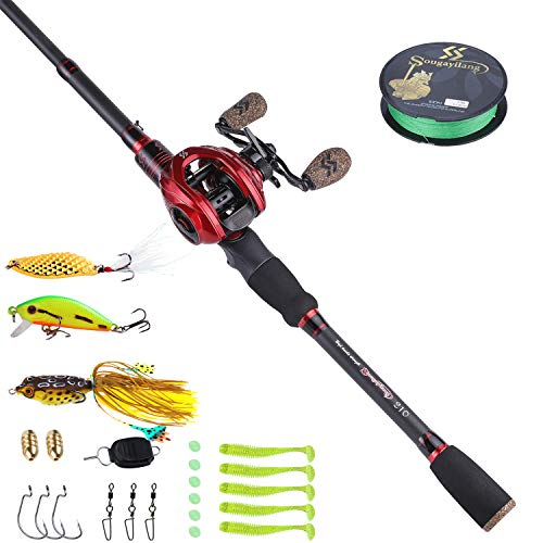 Sougayilang Baitcaster Combo Telescopic Fishing Rod and Reel Combo, Ultra Light Baitcasting Fishing Reel for Travel Saltwater Freshwater with Lures-5.9FT & Right Handle Reel with Accessories
