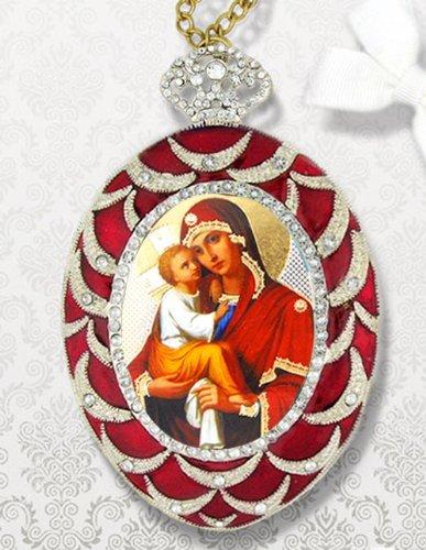 Russischer Anhänger Madonna und Kind Christus Jesus Gold Silber Folie Ikone Zimmer Wand Ornament
