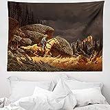 ABAKUHAUS Western Wandteppich und Tagesdecke, Cowboy-Reitpferd, aus Weiches Mikrofaser Stoff Wand Dekoration Für Schlafzimmer, 150 x 110 cm, Goldgrau