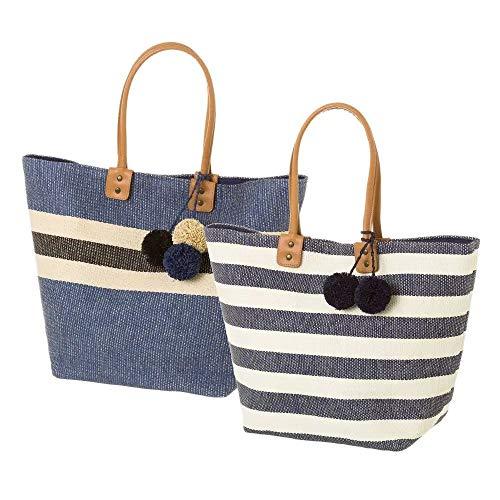Bolsa capazo fibra papel marinero 51x34x20 cm 2 modelos azul/rayas (Surtido a elegir 1, indíque preferencia tras hacer pedido, si no se enviará cualquier modelo dependiendo disponibilidad)