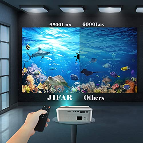 """5G WiFi Bluetooth Projector with 450""""display,9500 Lux 4K Projector for Outdoor Movies,Support 4k,Dolby,Zoom,Keystone Correction,Full HD Native 1080P Projector Compatible w/ TV Stick, iOS, Android, PS5"""
