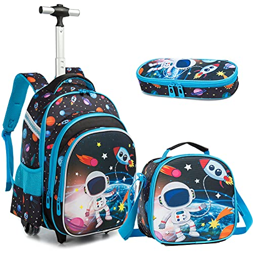 """Egchescebo Girls Boys Rolling Backpacks Kids Backpack with Wheels for School Bags Luggage With Wheels Trolley Wheeled Backpacks for Girls and Boys 3PCS 16"""" Astronaut Pattern Travel Bags Boys and Girls Backpack With Lunch Box Blue"""