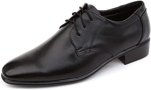 HAPPY LEMON Chaussures Oxford Durable Mode Chaussures Chaussures Oxford for Hommes Chaussures Formelles à Lacets Style en Cuir Véritable Décontracté Affaires Square Toe Bas Top Couleur Unie Mode Durable
