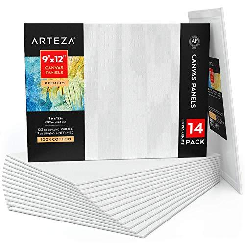 """Arteza Paneles de lienzo en blanco, 9""""x12"""" (22,9 x 30,5 cm), pack de 14, 100% algodón, imprimación 350 gsm, sin ácido, para pintura acrílica y al óleo, artistas, pintores..."""