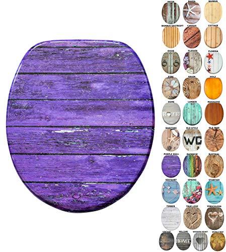 WC Sitz mit Absenkautomatik, viele schöne Holz WC Sitze zur Auswahl, hochwertige und stabile Qualität (Purple Wall)