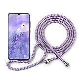 YuhooTech Handykette Handyhülle Kompatibel mit Huawei P9, Smartphone Necklace Hülle mit Band - Handyhülle mit Kordel Umhängenband - Schnur mit Case zum umhängen in Violett