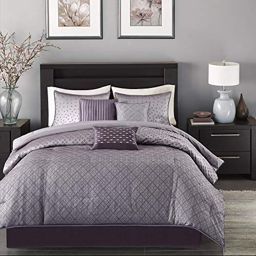 Madison Park Biloxi Jacquard Comforter Set-Modern Geometric Design All Season Down Alternative Cozy Bedding with Matching, Shams, Decorative Pillow, King(104'x92'), Ombre Purple, 7 Piece