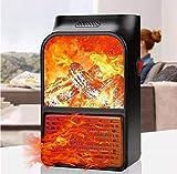 SNEHERI 500W Mini Portable Electric Heater Fan Air Warmer Fireplace Flame Heater Remote Control...