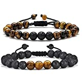 Bead Bracelet for Mens Gifts - Natural Tiger Eye Black Lava Rock Stone Mens Anxiety Bracelets, Adjustable Aromatherapy Essential Oil Diffuser Healing Bracelet Gifts for Men Best Friend Gifts
