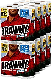 Brawny Paper Towels, 16 XL Rolls, Pick-A-Size, White, 16 = 32 Regular Rolls (2 PACK)