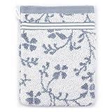 Manopla de baño, 16x 21cm, diseño retro floral, color gris, 550g/m2