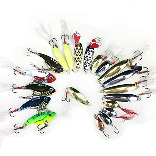 Beunyow Artificiali da Pesca,Kit di Esche per Pesci,Esche Cucchiaino,Esche Doppio Amo, Trota Persico Luccio Esche di plastica (21 Pezzi)