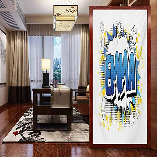 Privacy Window Film Home Glass Stickers, Emma Youthful Energetic Name Design for Teenage Girls C, Bathroom Office Meeting Room Living Room Window Membrane, W23.6xH47.2 Inch