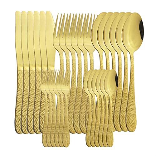 30 unids/set Black Silverware Set Knives Forks Forks Cuchara Vajilla Cubiertos de Cubiertos Set Tenedor Cuchilla Cuchillo Cocina Cocina (Color : Gold)