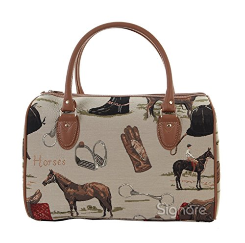 Signare Tapestry Women Tan Canvas Travel Duffel Weekender Bag Hand Luggage Overnight Bag with in Signare Tapestry Duffle Bag Overnight Bags Weekend Bag for Women with Horse Design (TRAV-HOR)