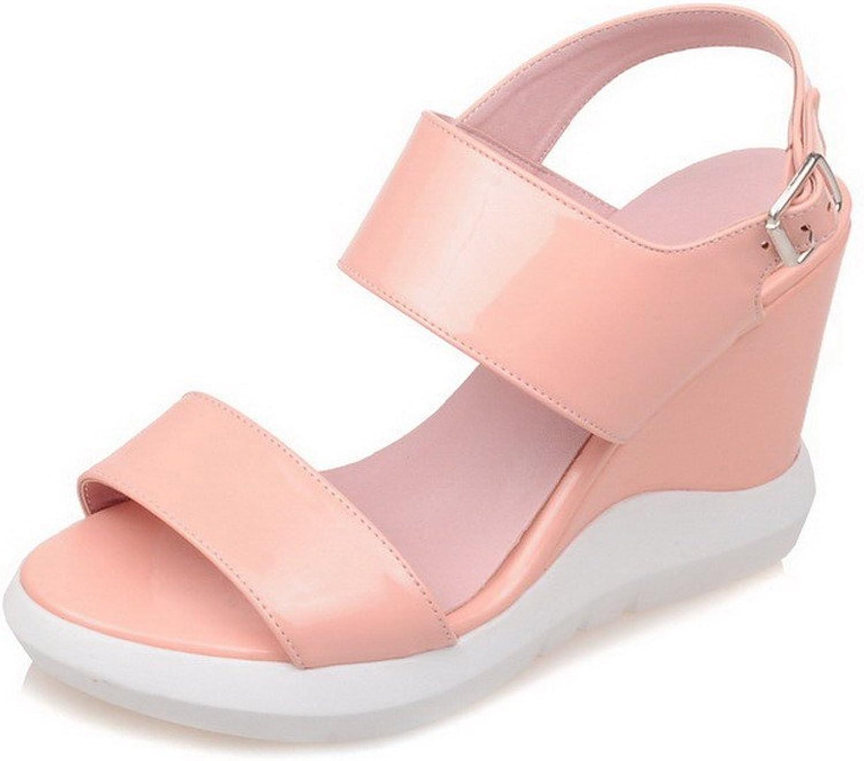 WeenFashion Women's Soft Material Open Toe High-Heels Metal Solid Sandals