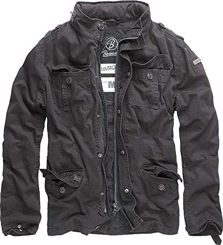 Brandit Vintage Mens Military M65 Short Army Combat Light Field Jacket Parka Black m