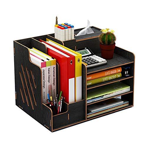 Organiseur de bureau en bois, grande capacité de stockage - Idéal pour les fournitures de bureau, le rangement de fichers et de documents Noir