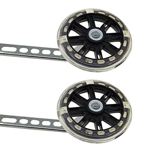 PengXiang LED-Lichter Stützräder für Kinderfahrrad 12 14 16 18 20 Zoll, 1 Paar Sicherheitsstützräder - Schwarz-B