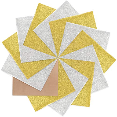 Heat Transfer Vinyl Glitter HTV 12 Sheets of 12in x 10in Weed Iron on Vinyl Heat Press Vinyl for T-Shirts Works Christmas Gifts (Silver and Gold)