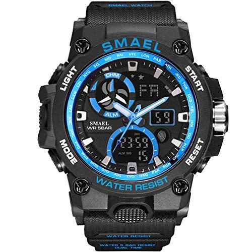 SMAELBand Reloj del Deporte de los Hombres de Juguete Ejército Militar Relojes de los Hombres De Pulsera Impermeable S de Choque 50m La Moda de los Hombres Relojes Deportivos 8011,Black Blue