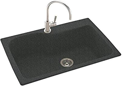 Black Galaxy, Swaoi #Swanstone BS01515.015-3 15-in X 15-in Solid Surface Bar//Prep Sink 3-Hole