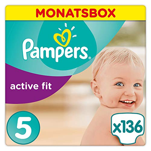 Pampers Active Fit Windeln Monatsbox, Größe 5, 11-23kg, 136 Windeln